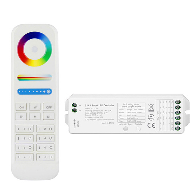 Multi-zone Wireless RF RGBW LED Strip Controller Kit, 8 Zone