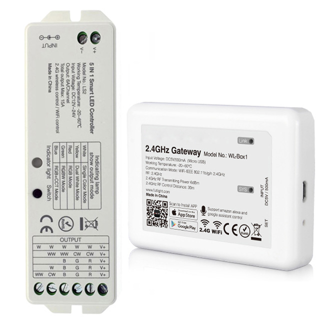 RGBW WiFi Controller for LED Strip Lights, Multi Zone