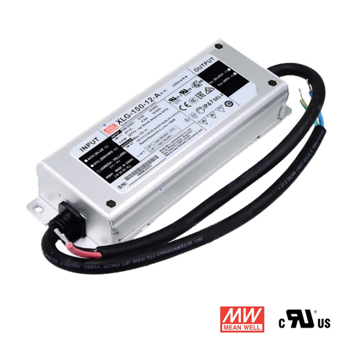 12V 12.5A 150W Waterproof LED Power Supply, Mean Well XLG-150-12-A