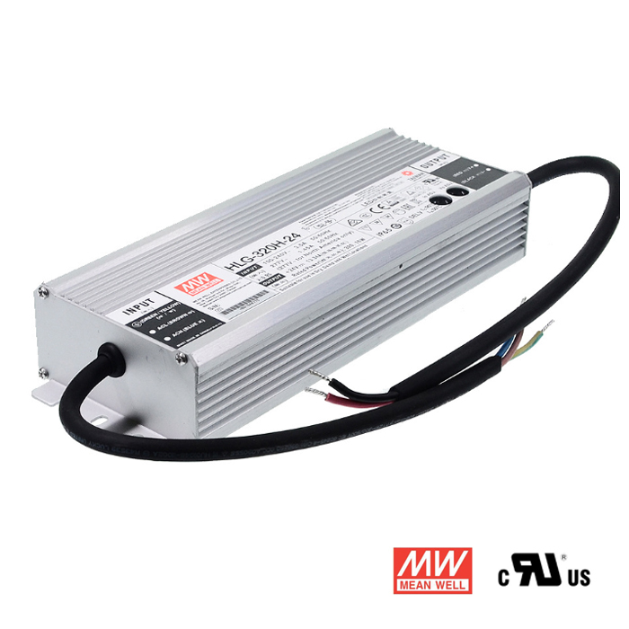 24V 13.3A 320w Waterproof Power Supply with PFC, Mean Well HLG-320H-24
