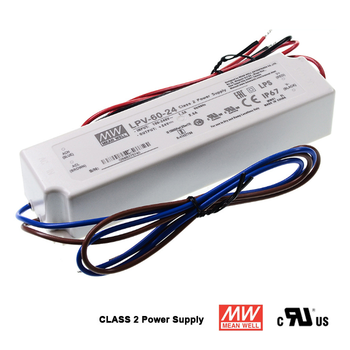 24 Volt 2.5 Amp 60Watts Waterproof Power Supply, LPV-60-24, Class 2