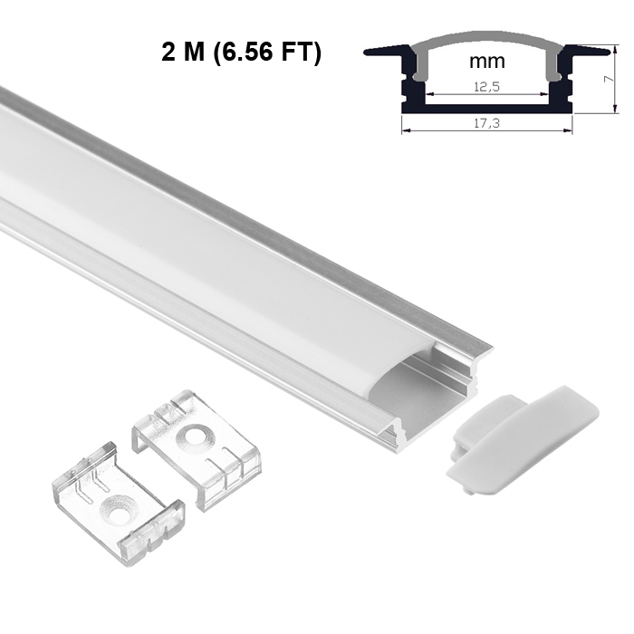 LED Strip Light Channel, Aluminum Extrusion Profile, U Shape 2 M (6.56 FT), 0725