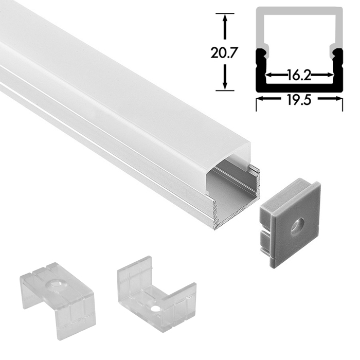 LED Strip Light Channel, Aluminum Extrusion Profile U Shape 2 M (6.56 FT), 2120S
