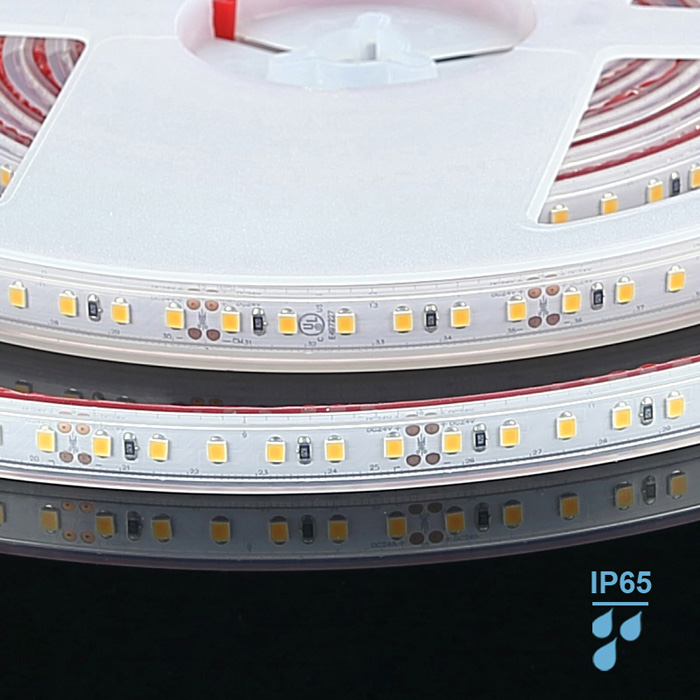 Waterproof 2835 24V LED Strip Light, Warm White 3000K, 120/m, 5m Reel