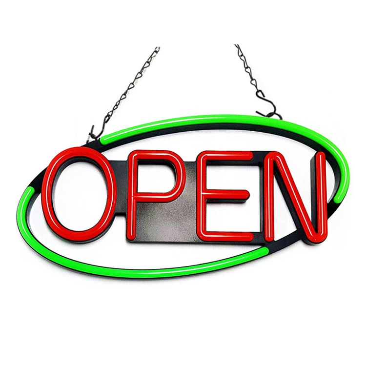 "Electric Flashing LED Neon Open Sign for Business, Oval 22""x 11"""