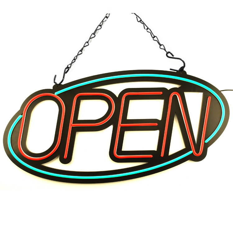 "Extra Large Electric LED Neon Open Sign for Business, Oval 31""x 15"""
