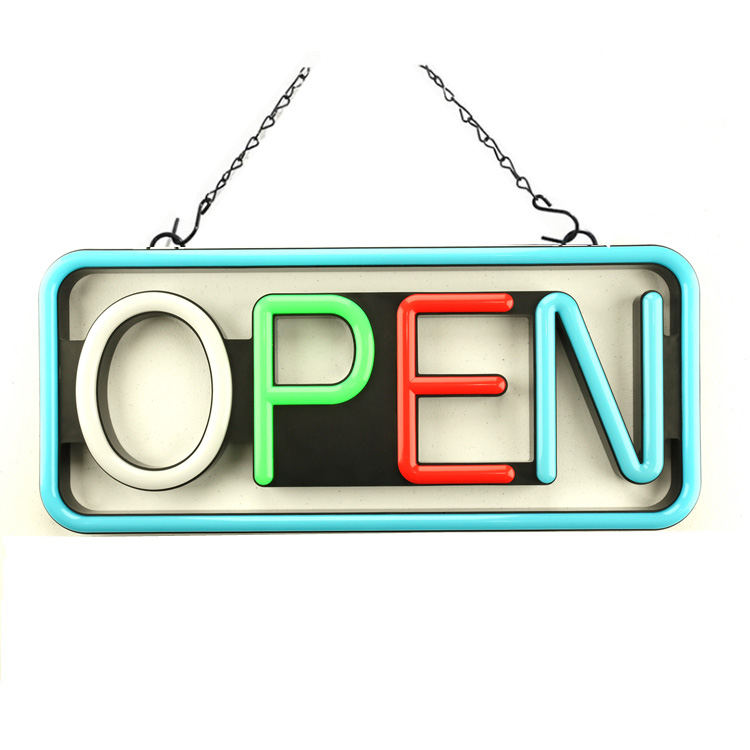 "Electric Flashing LED Neon Open Sign for business, Rectangle, Colorful 21""x 10"""