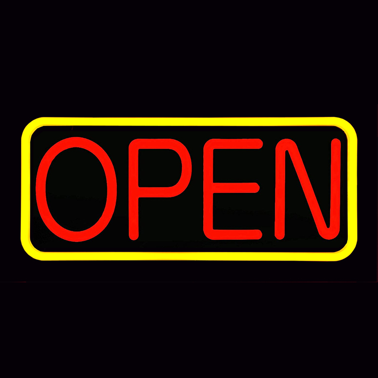"Large Flashing LED Neon Open Sign, Rectangle, Yellow and Red 21""x 10"""
