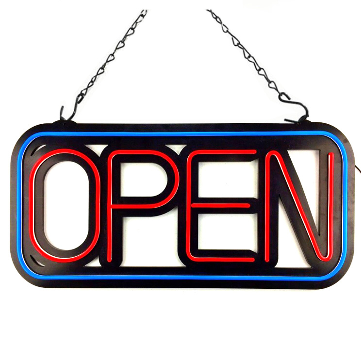 "Extra Large Electric LED Neon Open Sign for Business, Rectangle 31""x 15"""