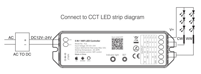 CCT LED strip WiFi controller