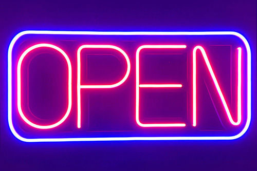 Large LED neon open sign