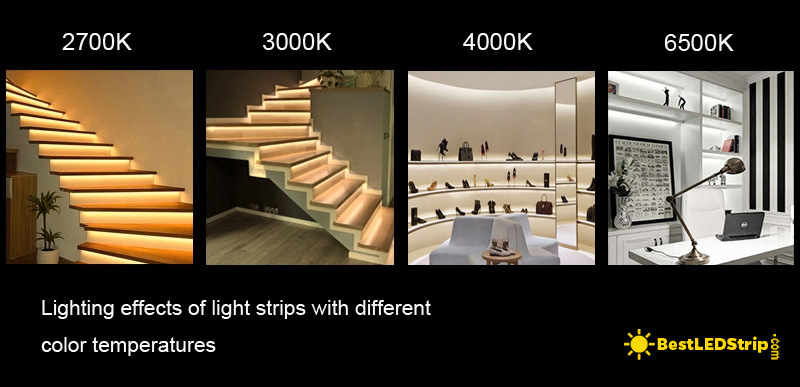 Comparison of color temperature 2700K, 3000K, 4000K and 6500K