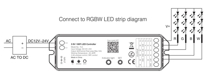RGBW LED strip WiFi controller