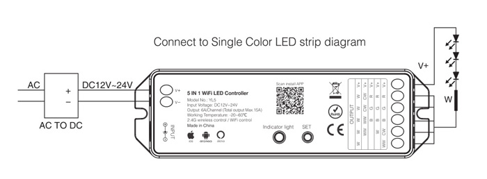 single color strip WiFi controller